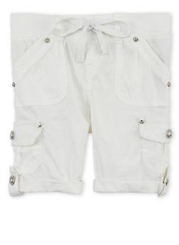 Girls 4-6x Tabbed Cargo Shorts - WHITE - 1620038340036
