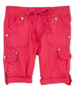 Girls 4-6x Tabbed Cargo Shorts - FUCHSIA - 1620038340036