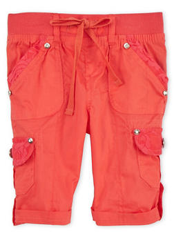 Girls 4-6x Tabbed Cargo Shorts - CORAL - 1620038340036