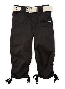 Girls 4-6x Ruched Faux Leg Tie Capri Pants - BLACK - 1620038340039