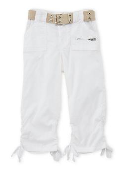 Girls 4-6x Ruched Faux Leg Tie Capri Pants - WHITE - 1620038340039