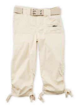 Girls 4-6x Ruched Faux Leg Tie Capri Pants - KHAKI - 1620038340039
