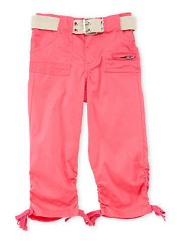 Girls 4-6x Ruched Faux Leg Tie Capri Pants - FUCHSIA - 1620038340039