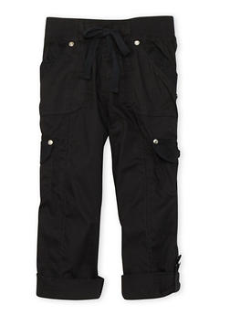 Girls 4-6x KCapri Cargo Pants with Lace Pocket Details - 1620038340040