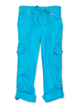 Girls 4-6x KCapri Cargo Pants with Lace Pocket Details - TEAL - 1620038340040