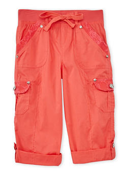 Girls 4-6x KCapri Cargo Pants with Lace Pocket Details - CORAL - 1620038340040