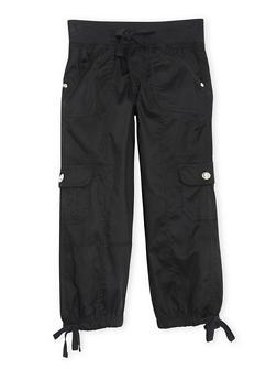 Girls 4-6x Knit Waist Capri Cargo Pants - BLACK - 1620038340041