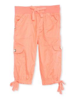 Girls 4-6x Knit Waist Capri Cargo Pants - CORAL - 1620038340041