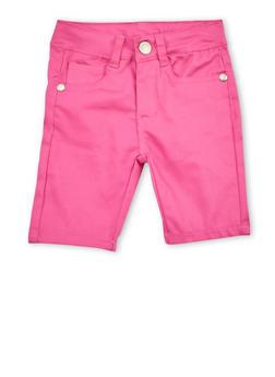 Girls 4-6x Pink Twill Bermuda Shorts - 1620054730002