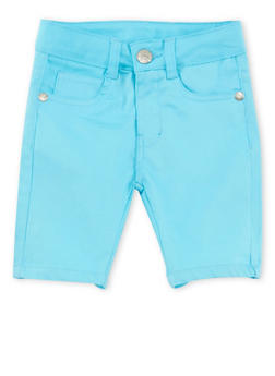 Girls 4-6x Solid Twill Bermuda Shorts - TURQUOISE - 1620054730009