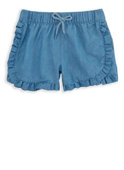 Girls 4-8 Ruffled Chambray Shorts - 1620054730020
