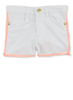 Girls 4-6x Kensie Solid Shorts with Pom Pom Trim - 1620060990002