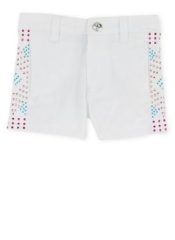 Girls 4-6x Stretch Twill Shorts with Studded Trim - 1620060990006