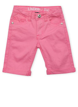 Girls 4-6x Limited Too Neon Pink Twill Bermuda Shorts - 1620060990015