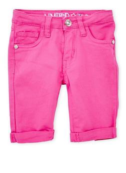 Girls 4-6x Limited Too Magenta Twill Bermuda Shorts - 1620060990029