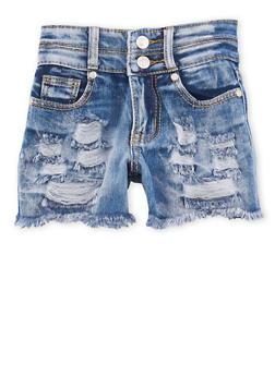 Girls 4-6x Two Button Frayed Denim Shorts - 1620063400001