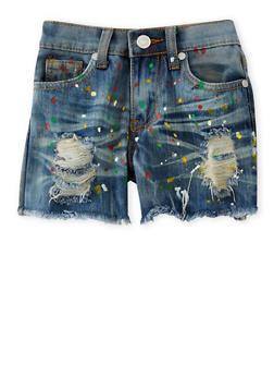 Girls 4-6x Distressed Paint Splatter Denim Shorts - 1620063400004