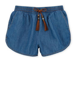 Girls 7-16 Chambray Shorts with Faux Suede Tassel Tie - 1621023130003