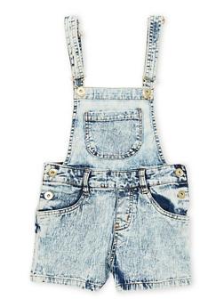 Girls 7-16 Front Pocket Acid Wash Denim Shortalls - 1621038340026