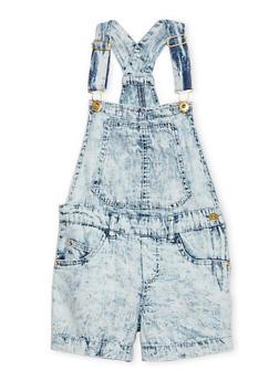 Girls 7-16 Acid Wash Denim Shortalls - 1621038340027