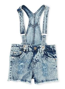 Girls 7-16 Acid Wash Denim Suspender Shortalls - 1621038340029