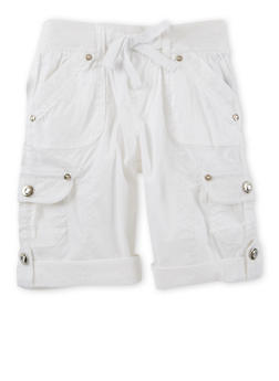 Girls 7-16 Cargo Bermuda Shorts with Lace Trim - 1621038340030