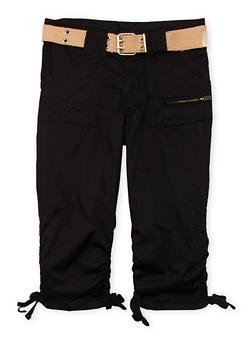 Girls 7-16 Belted Cargo Capri Pants - BLACK - 1621038340031