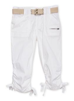 Girls 7-16 Belted Cargo Capri Pants - WHITE - 1621038340031