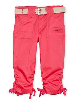 Girls 7-16 Belted Cargo Capri Pants - FUCHSIA - 1621038340031