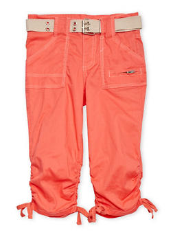 Girls 7-16 Belted Cargo Capri Pants - CORAL - 1621038340031