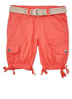 Girls 7-16 Belted Cargo Bermuda Shorts - CORAL - 1621038340032