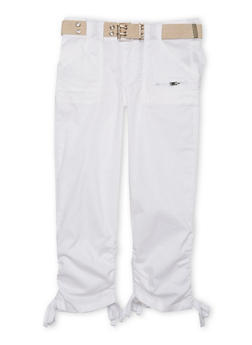 Girls 7-16 Belted Cargo Pants - WHITE - 1621038340033