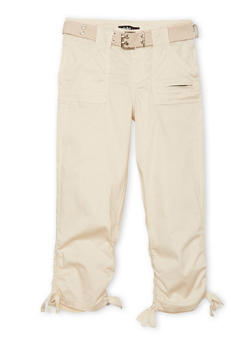 Girls 7-16 Belted Cargo Pants - KHAKI - 1621038340033