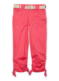 Girls 7-16 Belted Cargo Pants - FUCHSIA - 1621038340033