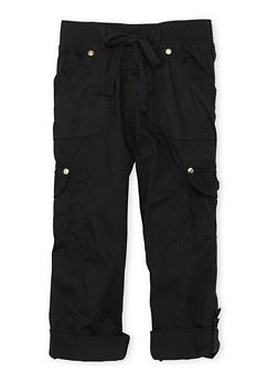 Girls 7-16 Cargo Pants with Lace Trim - BLACK - 1621038340034