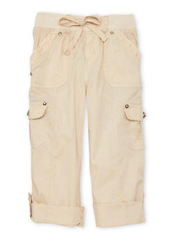 Girls 7-16 Cargo Pants with Lace Trim - KHAKI - 1621038340034