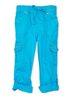 Girls 7-16 Cargo Pants with Lace Trim - TEAL - 1621038340034