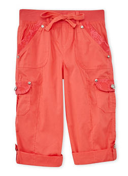 Girls 7-16 Cargo Pants with Lace Trim - CORAL - 1621038340034