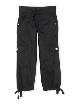 Girls 7-16 Cargo Capri Pants with Leg and Waist Drawstring - BLACK - 1621038340035