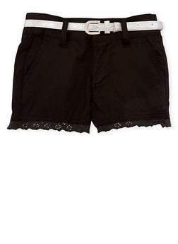 Girls 7-16 Crochet Trimmed Shorts - BLACK - 1621038340036