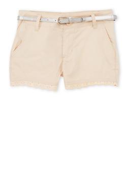 Girls 7-16 Crochet Trimmed Shorts - KHAKI - 1621038340036