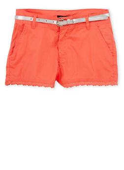 Girls 7-16 Crochet Trimmed Shorts - CORAL - 1621038340036