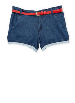 Girls 7-16 Belted Denim Shorts with Crochet Trim - 1621038340037