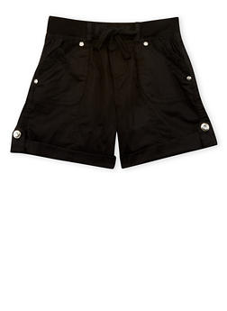 Girls 7-16 Lace Trimmed Cargo Shorts - BLACK - 1621038340038