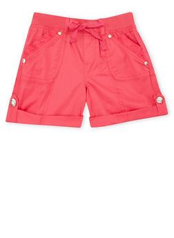 Girls 7-16 Lace Trimmed Cargo Shorts - FUCHSIA - 1621038340038