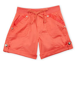 Girls 7-16 Lace Trimmed Cargo Shorts - 1621038340038