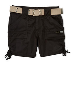 Girls 7-16 Belted Cargo Shorts with Tied Leg Detail - BLACK - 1621038340039