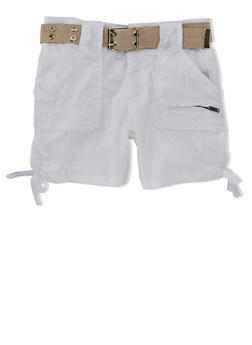 Girls 7-16 Belted Cargo Shorts with Tied Leg Detail - WHITE - 1621038340039