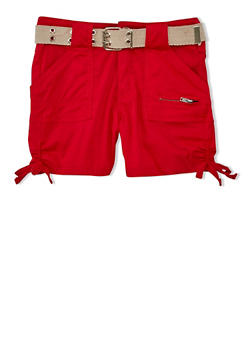 Girls 7-16 Belted Cargo Shorts with Tied Leg Detail - RED - 1621038340039