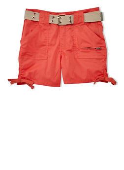 Girls 7-16 Belted Cargo Shorts with Tied Leg Detail - ORANGE - 1621038340039